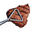 Tongs Holding Grilled Beef Loin Top Sirloin Steak — Stock Photo #6509369