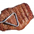 Tongs Holding Grilled Beef Loin Top Sirloin Steak — Photo