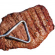 Tongs Holding Grilled Beef Loin Top Sirloin Steak — Stock Photo