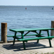 Royalty-Free Stock Photo: Green Wooden Picnic Table