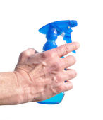 Hand Holding Blue Spray Bottle — Stock Photo