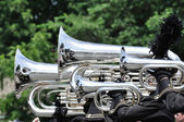 Playing Marching Tubas and Baritones in Parade — Stock Photo