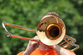 Marching Band Performers Playing Trombones in Parade — Stock Photo
