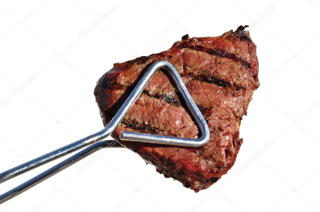 Tongs Holding Grilled Beef Loin Top Sirloin Steak � Stock Photo ...