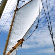 Royalty-Free Stock Photo: Foresail and Wooden Mast of Schooner Sailboat