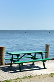 Green Wooden Picnic Table — Stockfoto