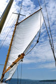 Foresail and Wooden Mast of Schooner Sailboat — Stock Photo