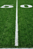 Fifty Yard Line on American Football Field — Stok fotoğraf