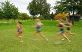 Blurred Girls Cross Country Runners — Stock Photo