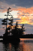 Scenic Island on a Remote Wilderness Lake at Sunset — Stock Photo