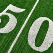 Royalty-Free Stock Photo: View From Above of Fifty Yard Line on American Football Field