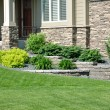 Landscaping and Retaining Wall — 图库照片