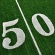 Stock Photo: View From Above of Fifty Yard Line on American Football Field