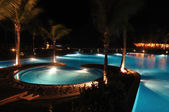 Tropical Resort Swimming Pool at Night — Stock Photo