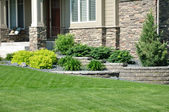 Landscaping and Retaining Wall — Stock Photo