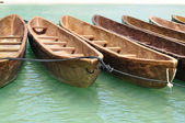 Canoes Tied Together Near the Beach — Stock Photo