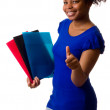 Happy woman with folders. — Stock Photo #6094447