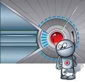 Roztomilý robot proti technologické zázemí — Stock fotografie