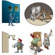 Funny scenes from Middle Ages - Stock Photo