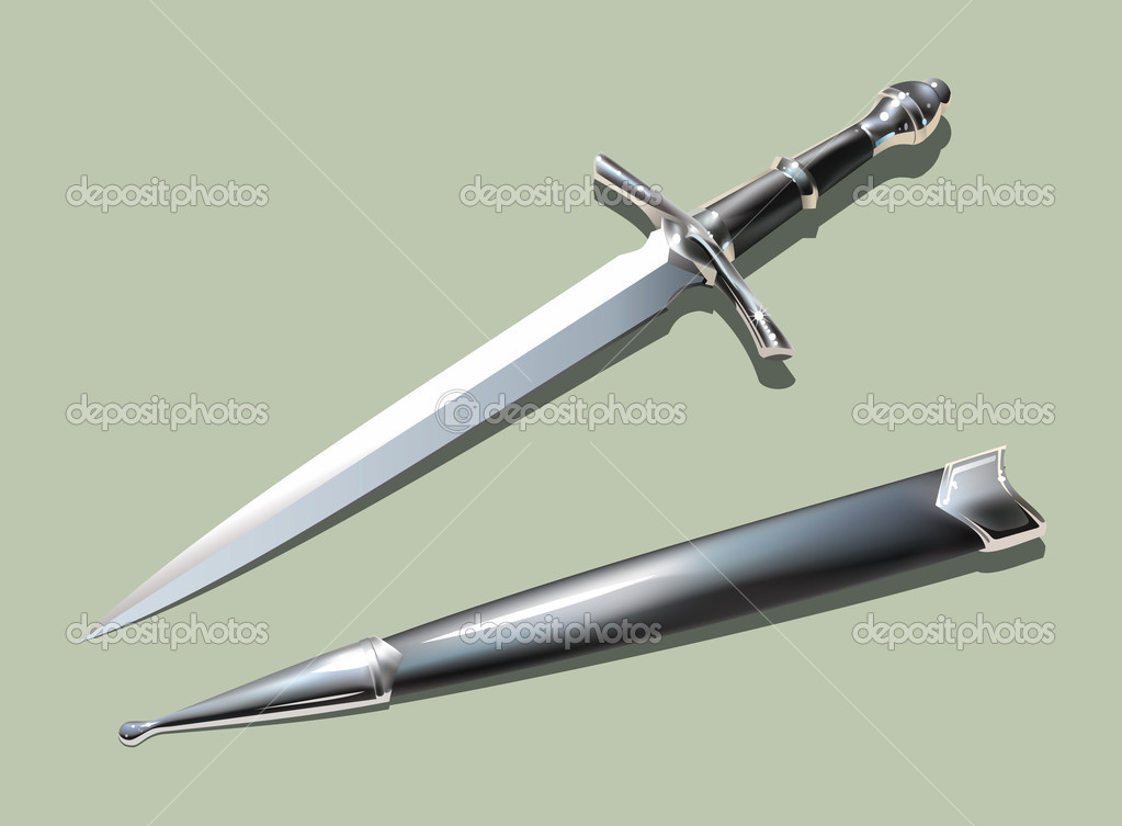 Photo-realistic medieval dagger with scabbard (using mesh), vector illustration  Stock Photo #6123197