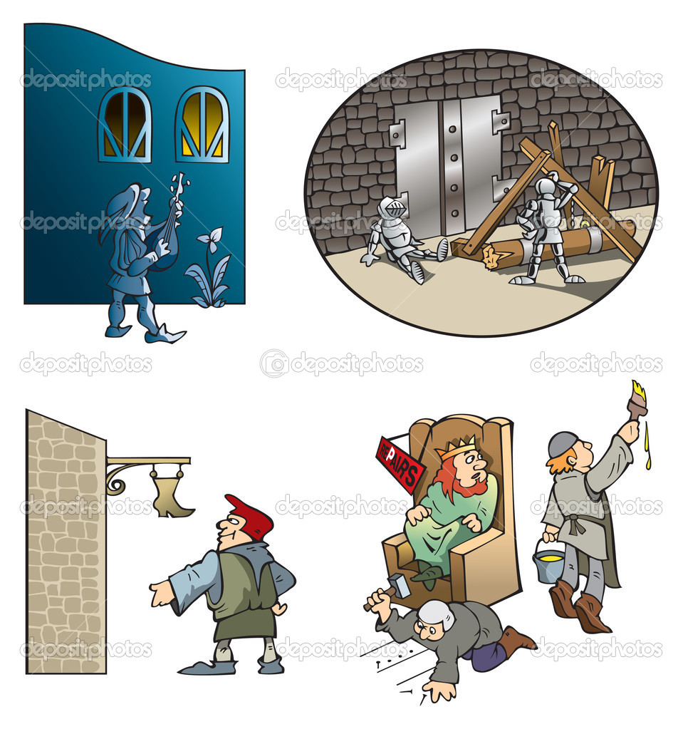 Funny scenes of Middle Ages: serenade of minstrel, castle siege, shoe craftsman and repairs in king's hall, vector illustration — Stock Photo #6123321