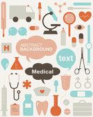 Zbiór ikon o tematyce medycznej i znaki ostrzegawcze — Wektor stockowy