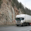 Stock Photo: White trailer truck