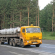 Stock Photo: Yellow trailer truck