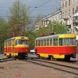 Two trams - Stock Photo