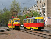 Two trams — Stock Photo