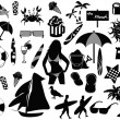 Stock Vector: Beach icons on white background