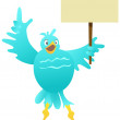 Cartoon blue bird with blank sign — Stock Vector