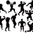 Stock Vector: Silhouette of bodybuilder