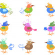 Colorful cartoon birds — Stock Vector