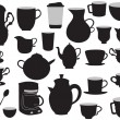 The set of coffee pots and cups — Stock Vector