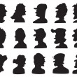 Set of profile silhouette — Stock Vector