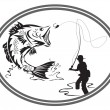 Fishing bass emblem — Stock Vector #6419315