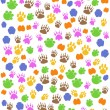 Colorful seamless animals footprint - Stock Vector