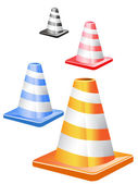 Traffic cones in a row — Stock Vector