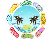Flip Flops around summer — Stock Vector
