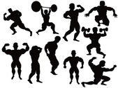 Silhouette of bodybuilder — Stock Vector