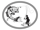 Emblema bass pesca — Vetorial Stock