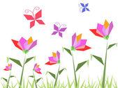 Mariposas y flores de papel — Vector de stock