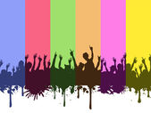 Rock crowds on rainbow background — Stock Vector