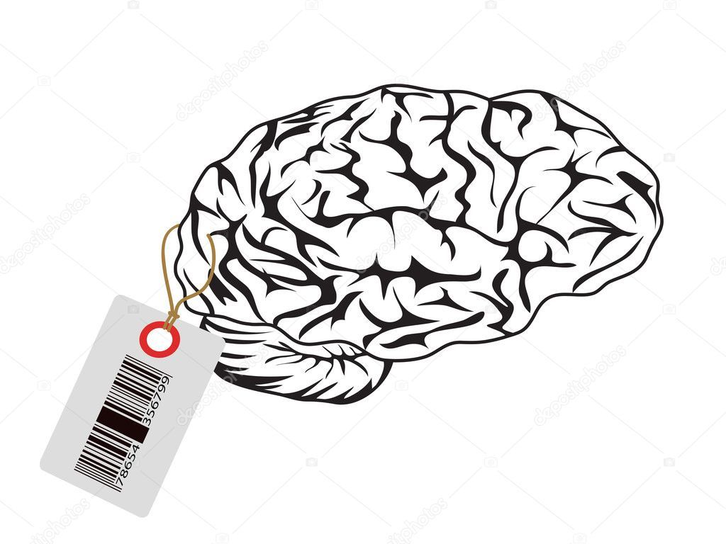 Intelligent brain with bar code tag  Stock Vector #6418409