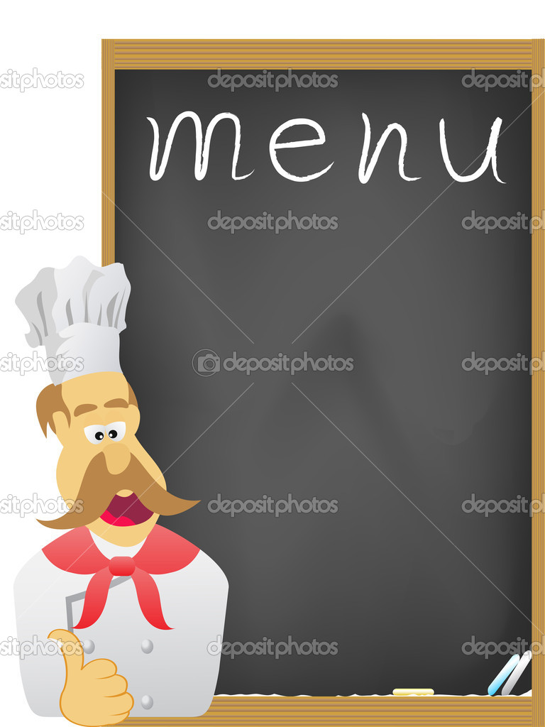 The chef and board for menu  — Stock Vector #6418761