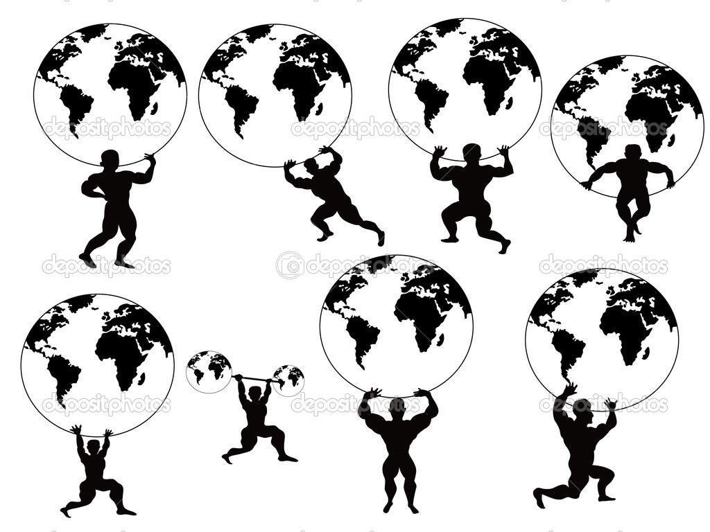 Isolated strong man lifting earth on white background  Stock Vector #6419703