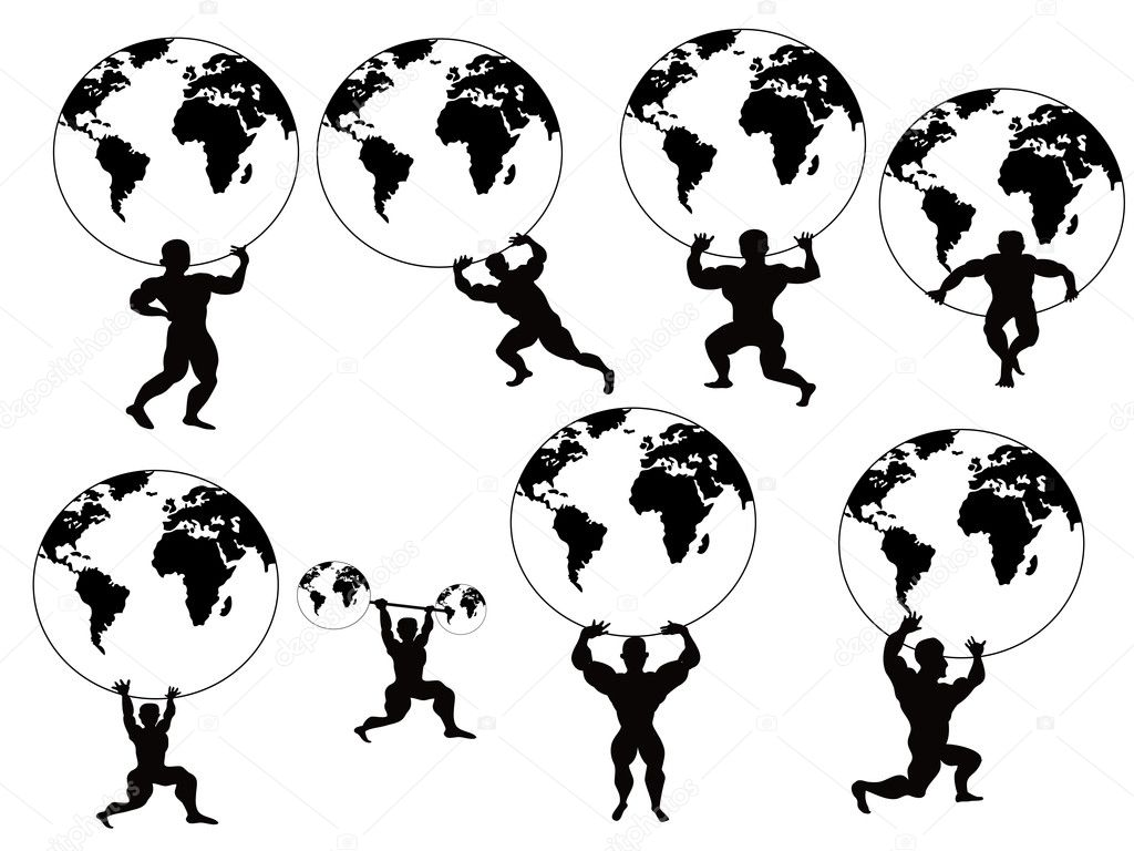 Strong man lifting earth - Stock IllustrationStrong Man Logo