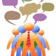 Royalty-Free Stock Vector Image: Social symbol talk in color speech bubbles