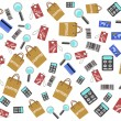 Shopping icons seamless background — Stock Vector